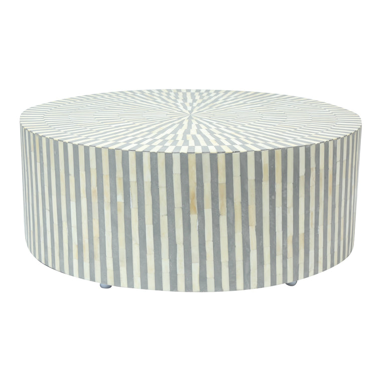 Bone Inlay Coffee Table Round | Grey Stripe