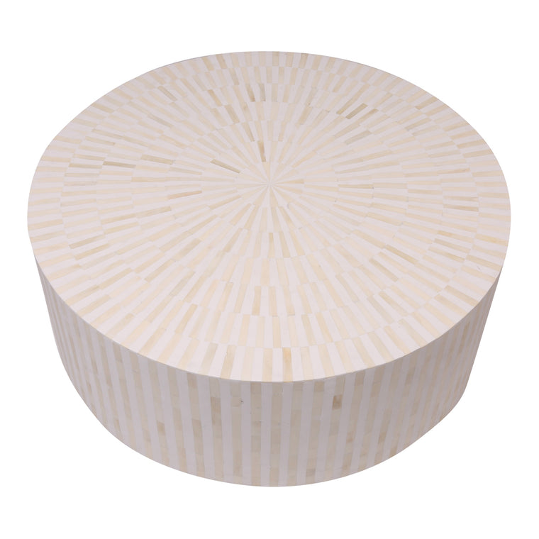 Bone Inlay Coffee Table Round | White Stripe
