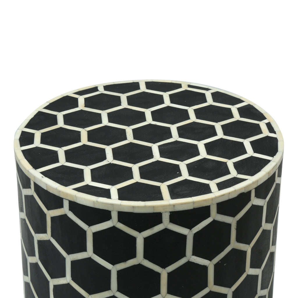Bone Inlay Side table in Black Honeycomb