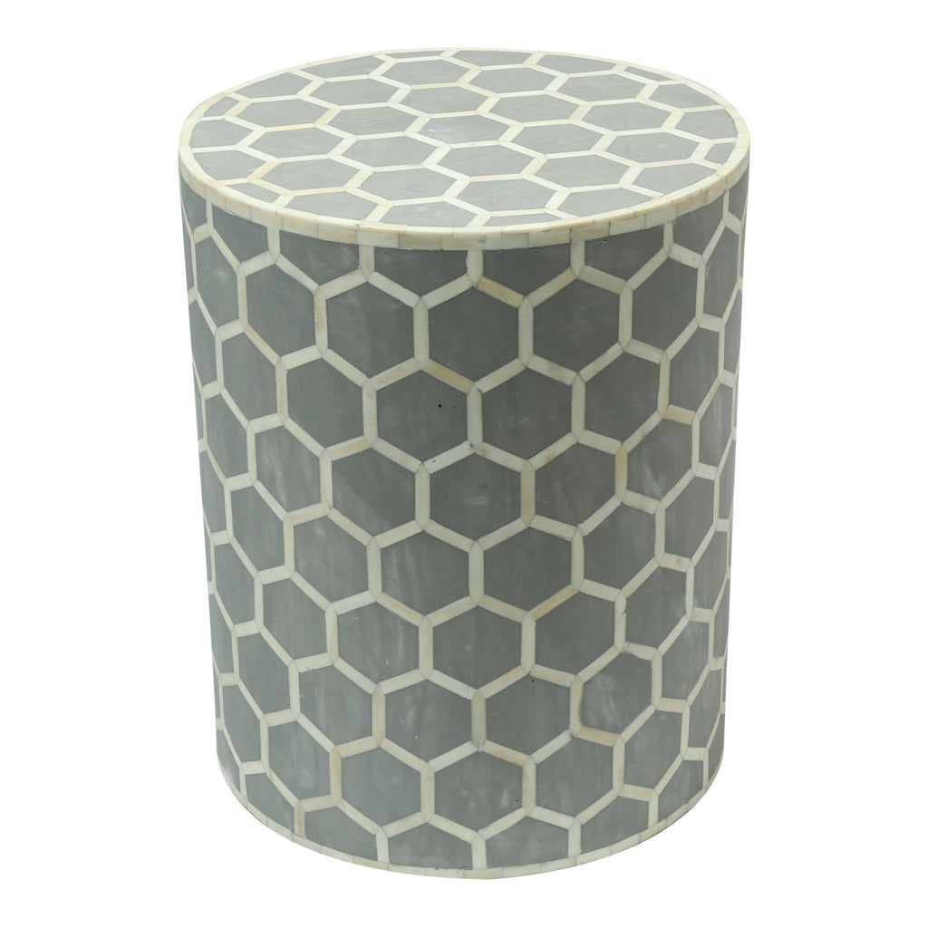 Bone Inlay Drum Side Table in Honeycomb Grey