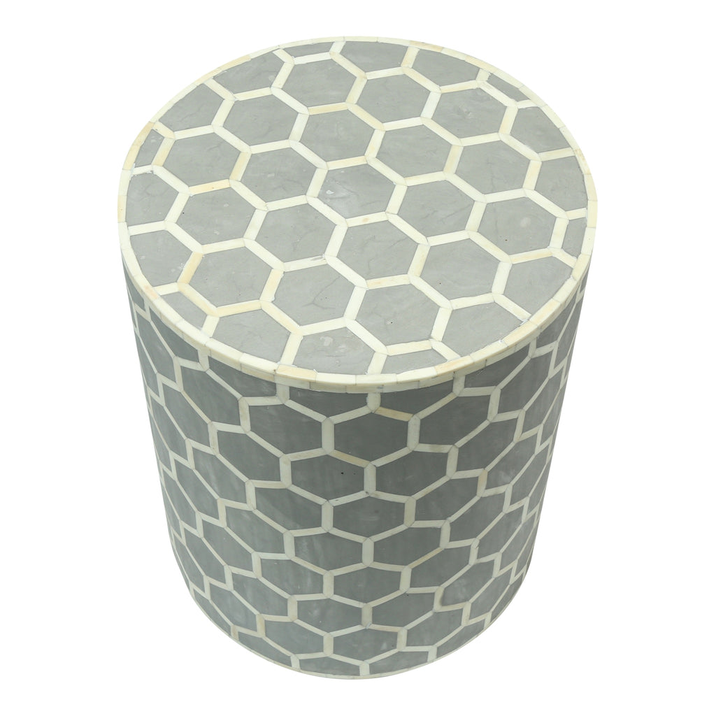 Bone Inlay Side Table in Honeycomb Grey