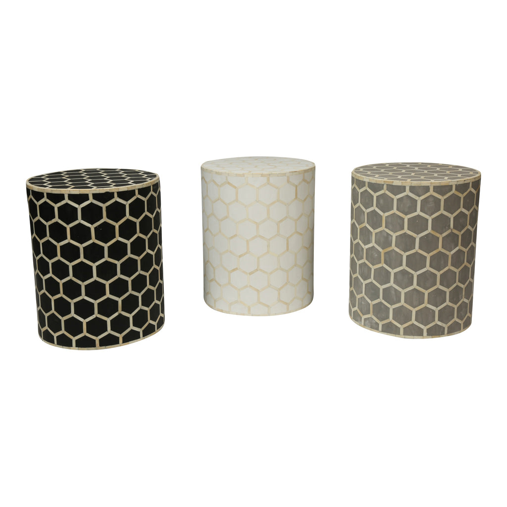 Bone Inlay Drum Side Table | Grey Honeycomb