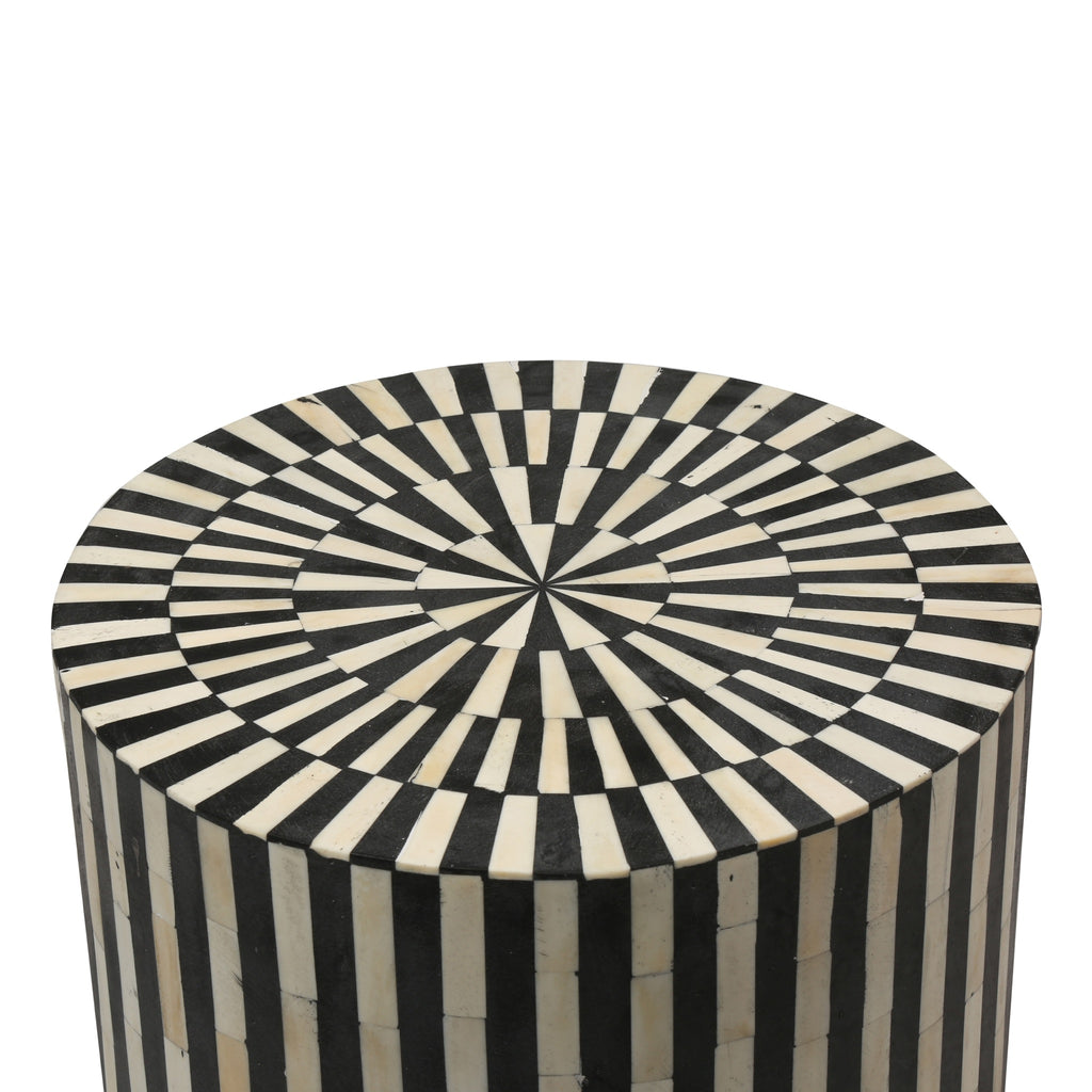 Bone Inlay Round Side Table in Black Stripe