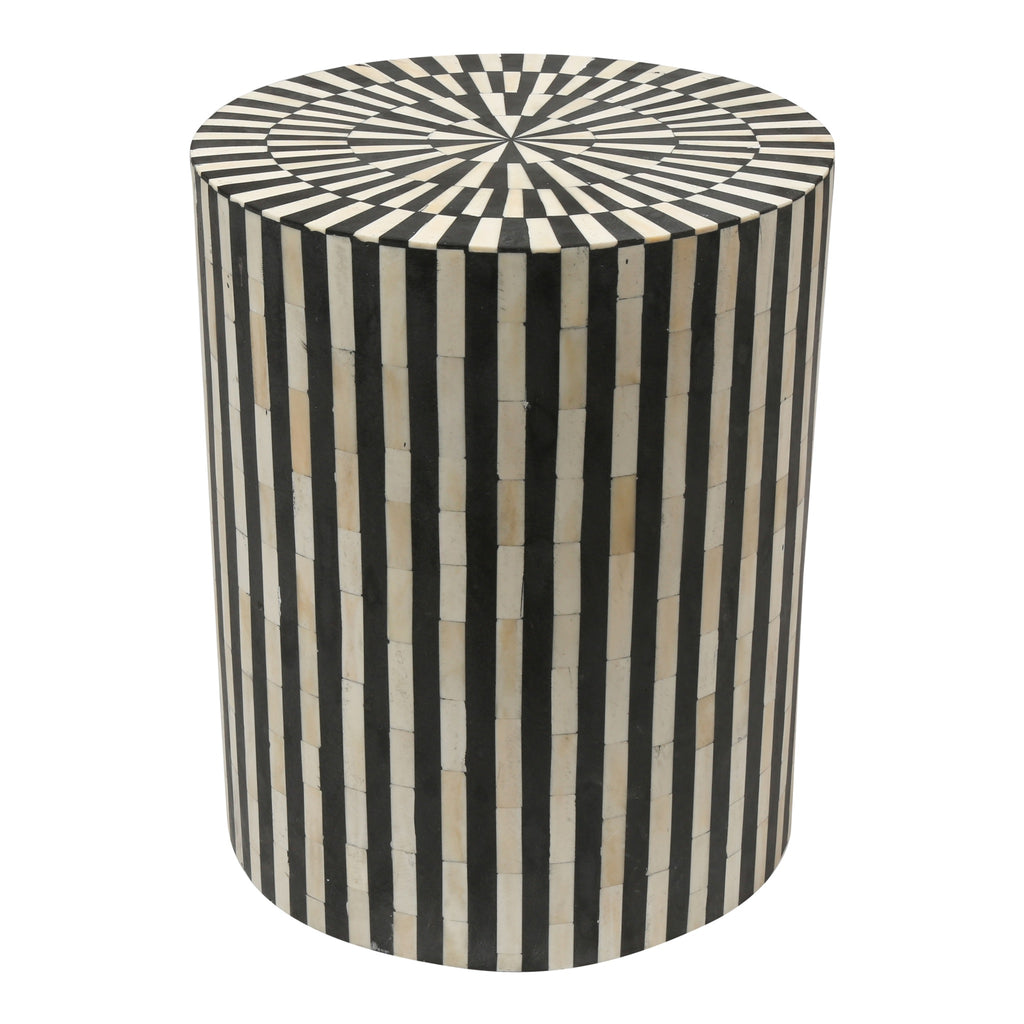 Black And White Striped Round Coffee Table: Bone Inlay Drum Side Table