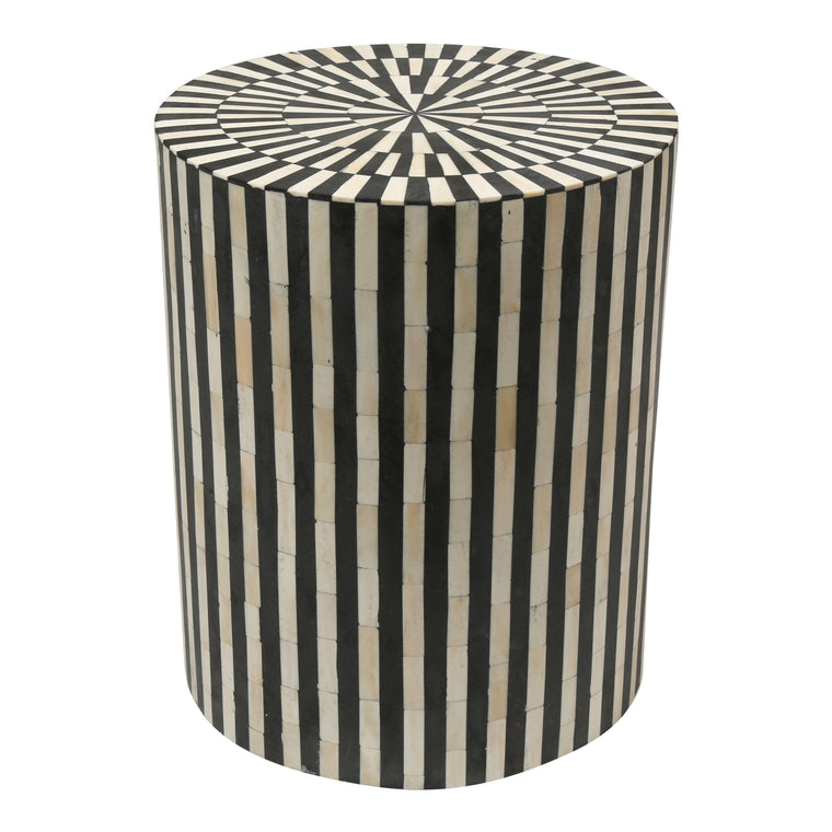 Bone Inlay Drum Side Table | Black Stripe