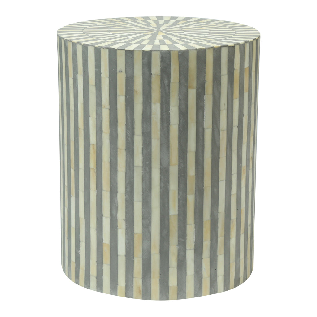 White And Gray Bone Inlay Accent Table: Bone Inlay Drum Side Table
