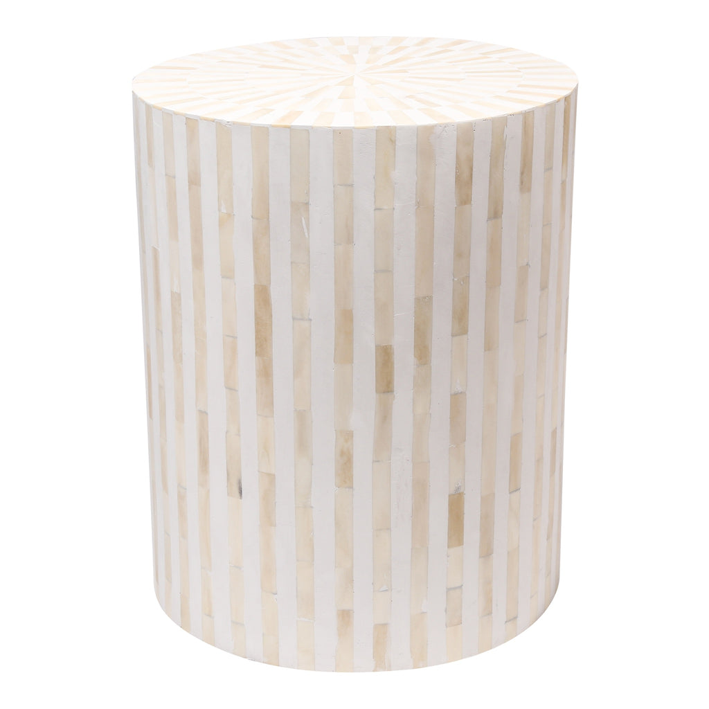 - Bone Inlay Drum Side Table White Stripe Bone Inlay Home