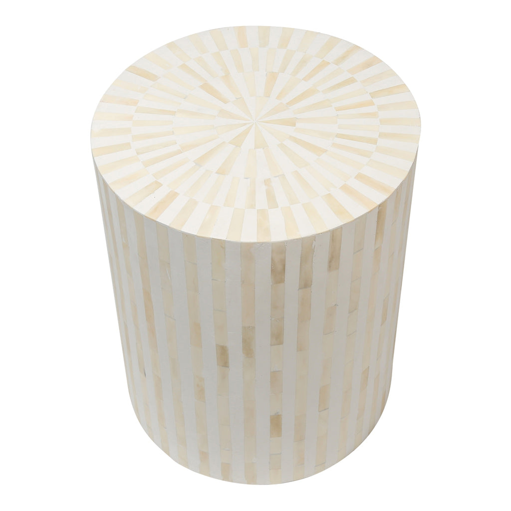 Bone Inlay Drum Side Table | White Stripe