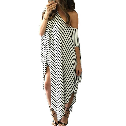 Black White Striped Maxi Dress