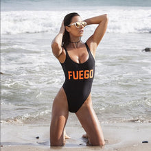 FUEGO Orange Letters Swimsuit