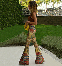 Bell bottom Yellow Retro Bohemian Yoga pants