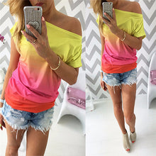 Ombre Off Shoulder Rainbow Shirt