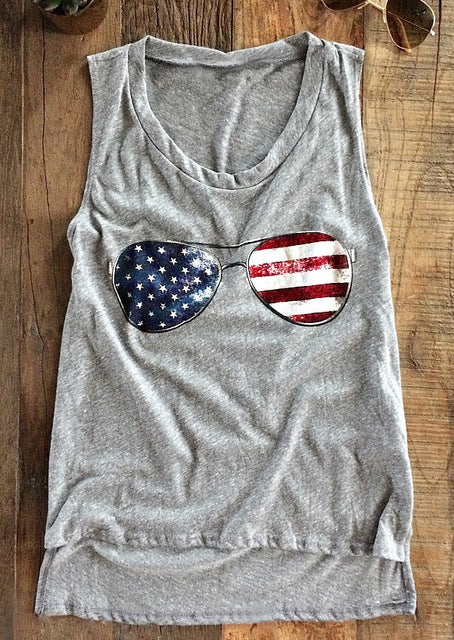 American Flag Glasses Muscle tee