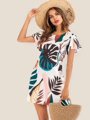 Leaf Print Butterfly Sleeve Dress