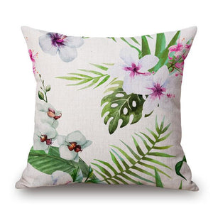 Tropical Plant Hibiscus Flower Pillow case Parrot Cushion Cover