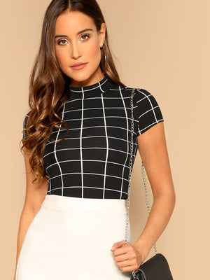 Mock Neck Grid Crop Top