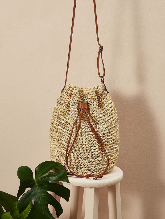 Drawstring Detail Crochet Crossbody Bag