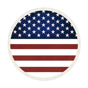American Flag Printed Blanket Tassel Beach Round Tapestry Hippie Throw  SunBathing Towel Large Circle Beach Release Mat