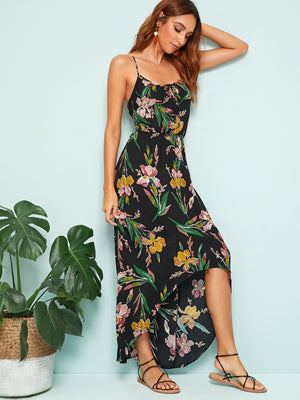 Floral Print High Low Hem Slip Dress