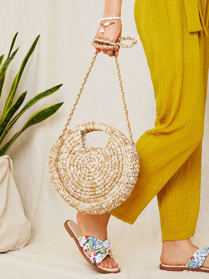 Straw Braided Round Bag