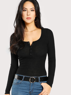 Scoop Neck Rib Henley Shirt