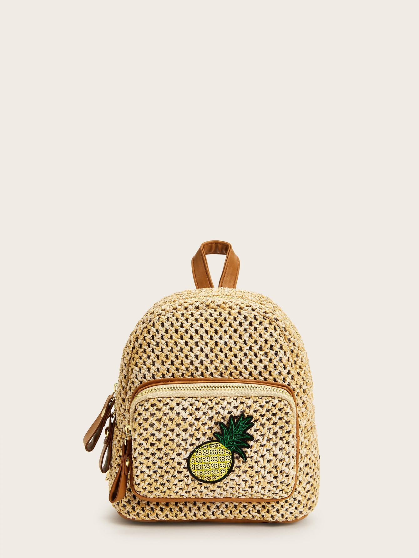 Pineapple Detail Braided Zipper Backpack Bag