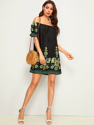 Tribal Floral Print Off Shoulder Tunic Dress