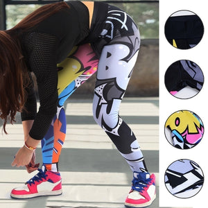 Women 3D Letter Printed Yoga Pants Leggings Sport GYM Running Skinny Workout Legging High Waist Long Pants