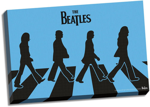 The Beatles Blue Silhouette Abbey Road 24x36 Stretched Canvas