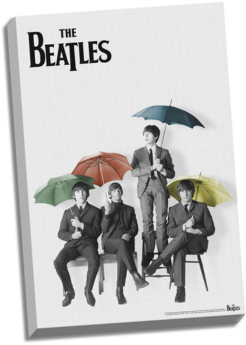 The Beatles Black and White with Color Umbrellas 24x36 Stretched Canvas