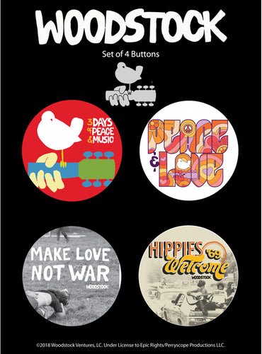 Set of 4 Woodstock Buttons