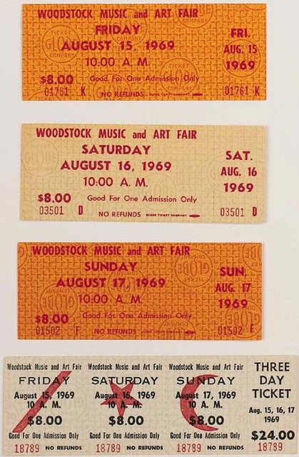Original 1969 Woodstock Tickets