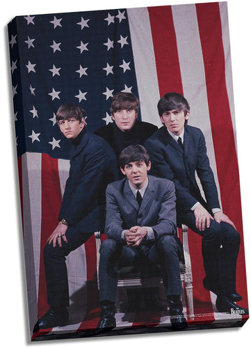 The Beatles US Flag 24x26 Stretched Canvas
