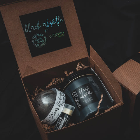 Black Absinthe Gift Set - Black Bath Bomb, Lip Balm, Waxxed Candle
