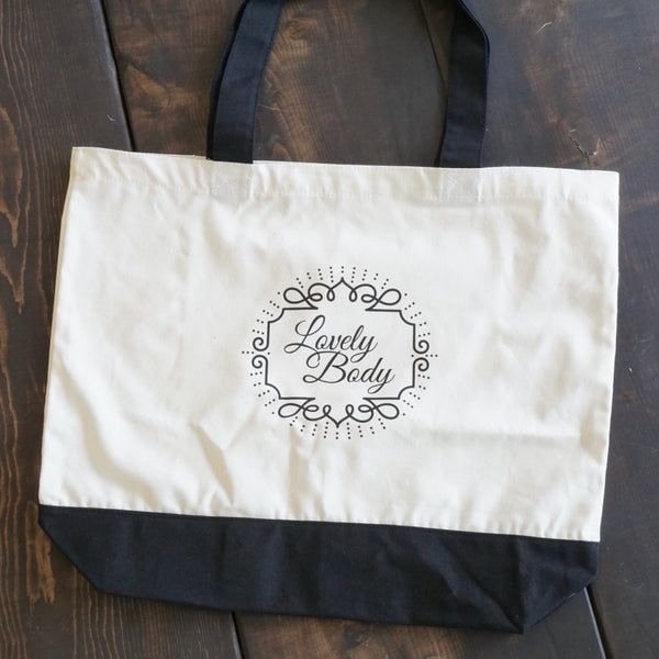 Lovely Body Cotton Tote Bag - Black and White