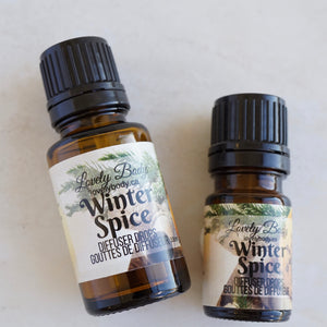 Winter Spice Diffuser Drops - Fir Needle, Cinnamon, Orange, Clove - Pure Essential Oil Blend