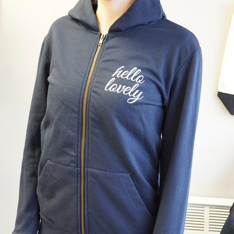 Blue Lovely Body Zip Up Hoodie Unisex - Made by Ungalli