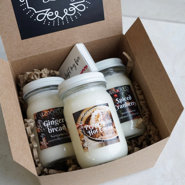 Sweet Stuff Waxxed Candle Gift Set #2 - Gift-Wrapped Handmade Candles
