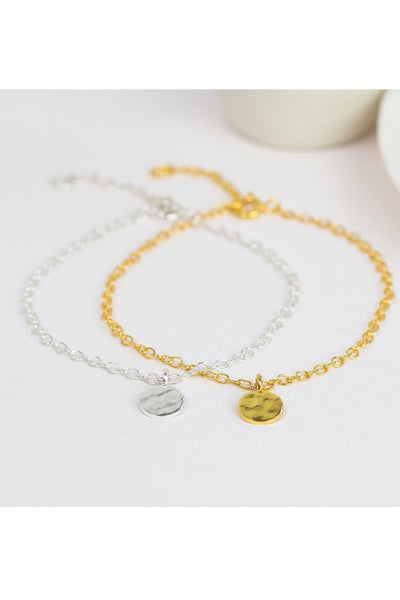 Hammered Disc Bracelet - Sterling Silver or Gold Vermeil - One and Eight