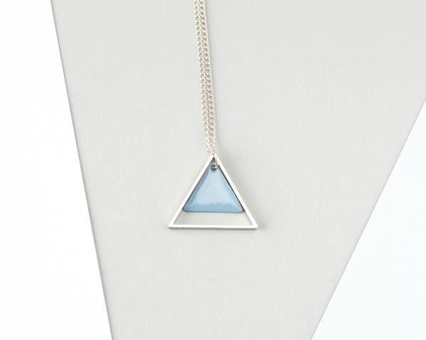 Large Two Triangle Metal Necklace (Blue)