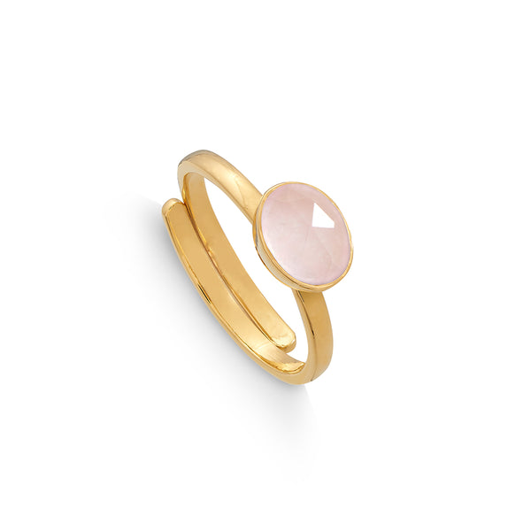 Rose Quartz Atomic Mini Adjustable Ring