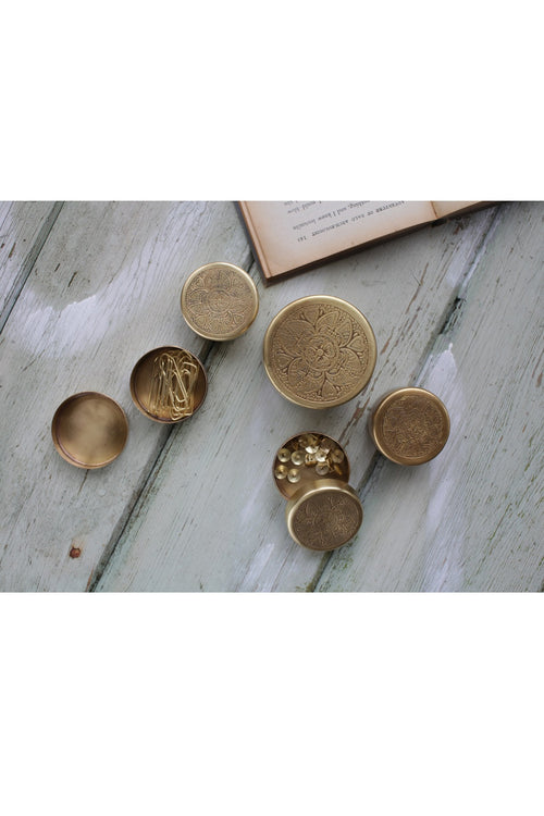 Beme Brass Round Pot
