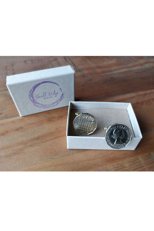 Brass Threepence Cufflinks - Choice of Year Available