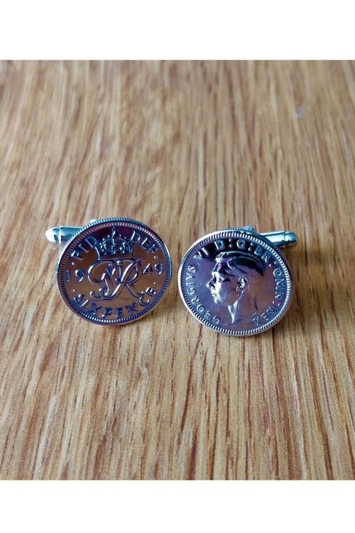 Silver Sixpence Coin Cufflinks - Choose your year