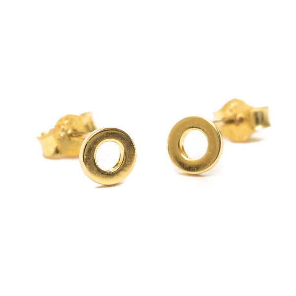 Gold Hoop Stud Earrings - One and Eight