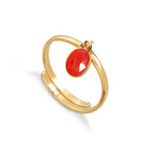 Bright Red Quartz Rio Adjustable Ring