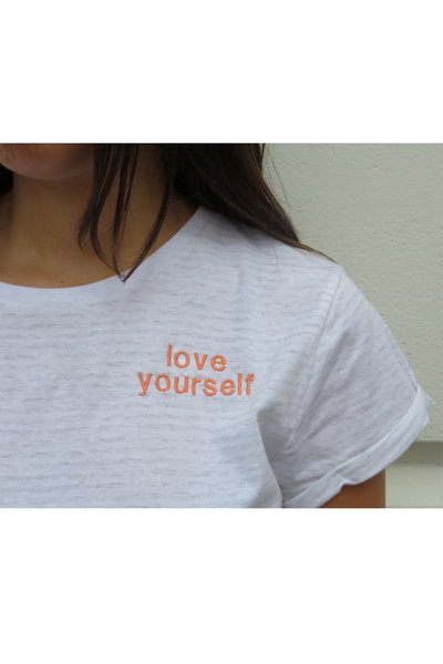 Embroidered 'Love Yourself' Organic Cotton T Shirt
