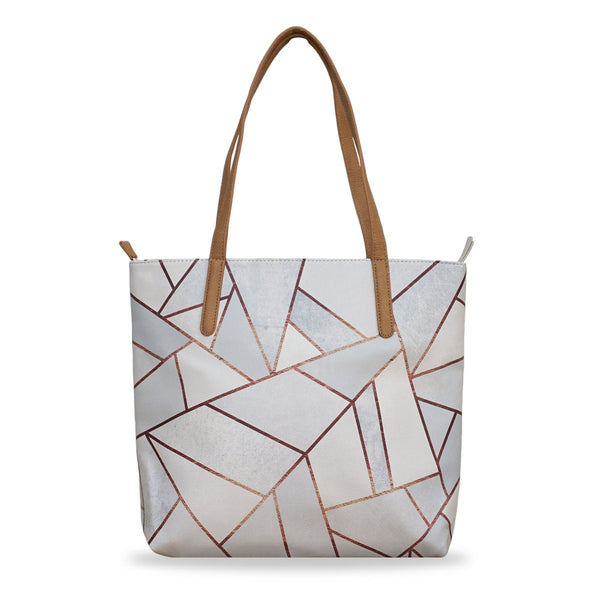 'White Stone & Copper' Vegan Tote Handbag