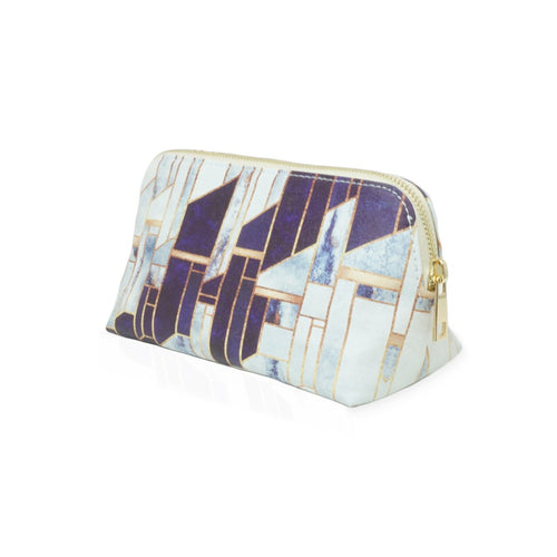 'Blue Winter Sky' White Marble Make Up Bag