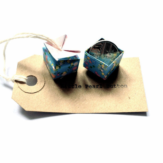 Little Box of Tricolour Stones necklace, origami box containing a sterling silver or gold-filled necklace